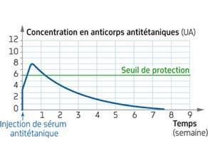 Évolution de la concentration en anticorps antitétaniques au cours d'une sérothérapie