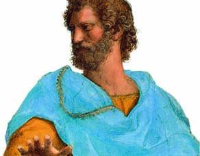 """Aristote,  détail du tableau """"L'École d'Athènes"""", Raphaël, XVIe siècle"""