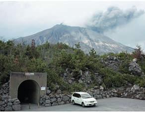 Abri pour se protéger en cas de retombées de bombes volcaniques près du volcan Sakurajima