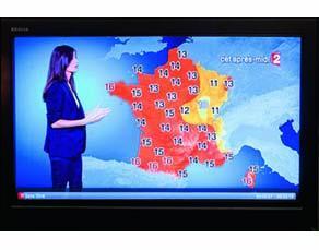 Les prévisions météorologiques sur une chaîne télévisée