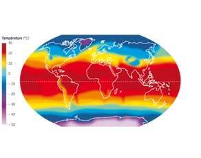 Températures moyennes de l'air en surface de la Terre