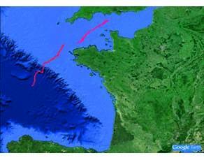 Trajectoires de deux bouées dérivantes, au large de la Bretagne