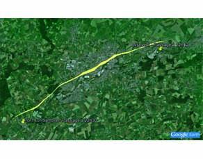 Trajet de la tornade en Val-de-Sambre le 3 août 2008