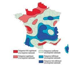 Carte de l'aléa tornade en France