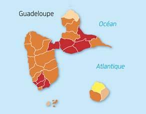 Densité actuelle de population de la Guadeloupe