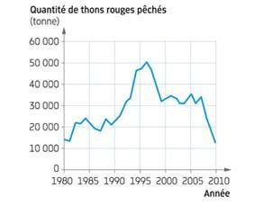 Évolution des quantités de thons rouges pêchés entre 1980 et 2010
