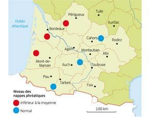 L'état des nappes phréatiques au 1er août 2015 dans le Sud-Ouest de la France