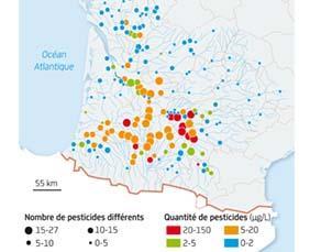 Nombre et quantité de pesticides retrouvés dans les cours d'eau du Sud-Ouest de la France, en 2012