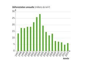 Évolution de la déforestation de la forêt amazonienne au Brésil