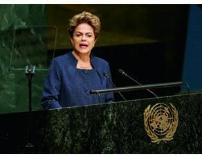 La présidente de la République fédérative du Brésil, Dilma Rousseff, à l'ONU, en septembre 2015