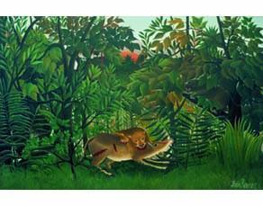 Le lion, ayant faim, se jette sur l'antilope, Henri Rousseau, 1898/1905. Huile sur toile, 200 × 301 cm. Fondation Beyeler, Riehen/Bâle, Suisse.