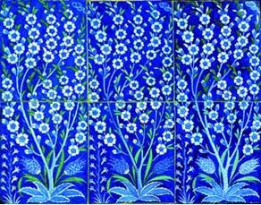 Panneau de six carreaux à décor floral. Céramique, XVIe siècle, Turquie