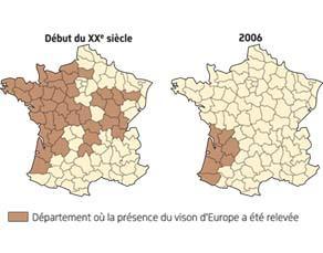 Aire de répartition du vison d'Europe à deux époques en France