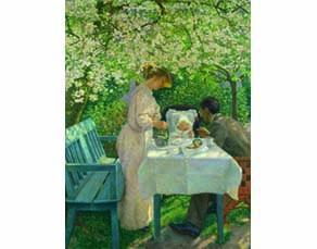 Le printemps/l'artiste et sa famille, Ernst Eitner, 1901. Huile sur toile, 198 × 150 cm. Kunsthalle, Hambourg, Allemagne.