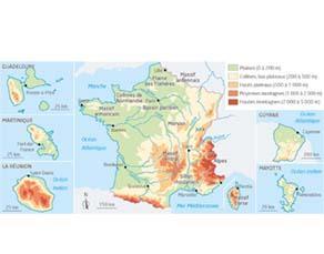 Les reliefs de la France métropolitaine et ses départements et régions d'outre-mer (DROM)