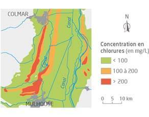 Concentrations en ions chlorure (Cl−) des eaux souterraines en Alsace