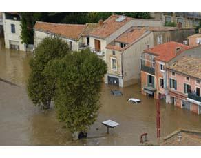 Inondation dans la ville de Trèbe