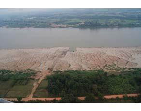 Localisation de la zone d'extraction de granulats dans le delta du Mékong