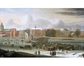 Foire sur la Tamise gelée, à Londres