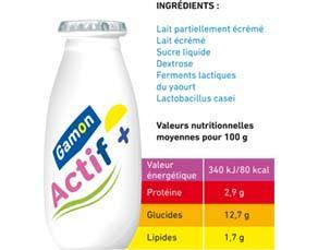 Un aliment de type «probiotique» et sa composition