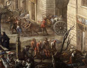 """Détail de """"Vue du Cours"""" (de Marseille) pendant la peste de 1720"""