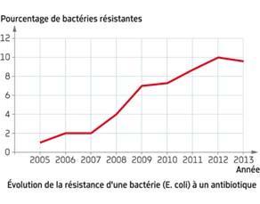 Évolution de la résistance d'une bactérie (E. coli) à un antibiotique